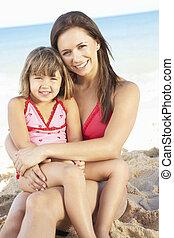 verão, filha, mãe, retrato, feriado, praia