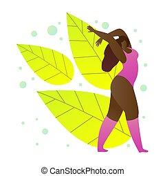verão, flat., ilustração, vetorial, condicão física, caricatura