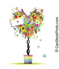 verão, floral, árvore, forma coração, em, pote, para, seu, desenho