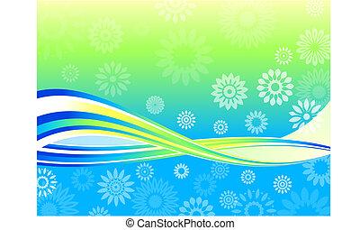 verão, floral, onda, fundo