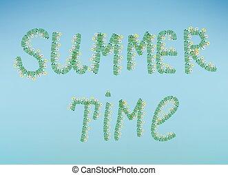 verão, flores, céu, ilustração, tempo