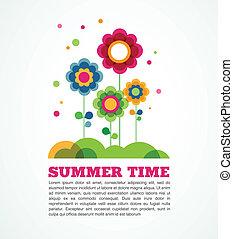 verão, flores, coloridos, tempo
