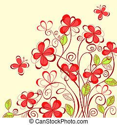 verão, flores, fundo
