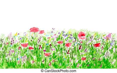 verão, flores, seamless, aquarela