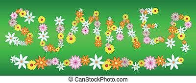 verão, flores, verde, lustroso