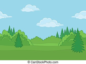 verão, floresta, paisagem, seamless