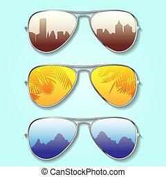 verão, fundo, óculos