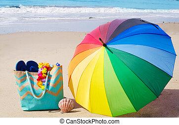 verão, fundo, com, arco íris, guarda-chuva, e, sacola praia