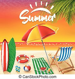 verão, fundo, feriados