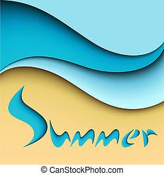 verão, fundo, mar