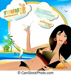 verão, fundo, ou, cartão, com, excitado, menina, com, cocktail.