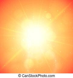 verão, fundo, verão, sol, com, chama lente