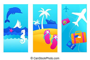 verão, fundos, férias