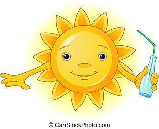 verão, garrafa, sol