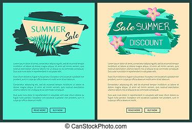 verão, grande, venda, desconto, verão, anúncio