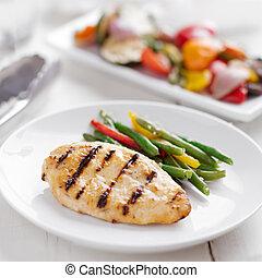 verão, grelhando, tempo, -, galinha grelhada, com, vegetables.
