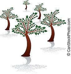 verão, grupo, madeira, parque, árvores, vetorial, ou
