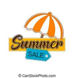 verão, guarda-chuva, venda, etiqueta