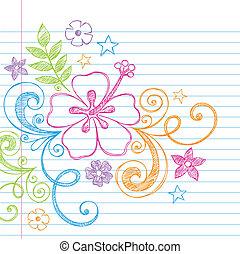 verão, hibisco, tropicais, doodle