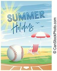 verão, holidays., baseball., card., esportes