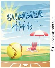 verão, holidays., esportes, softball., card.