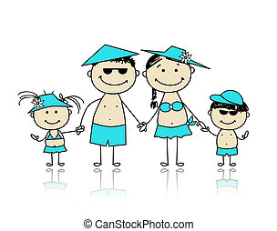verão, holidays., família feliz, para, seu, desenho