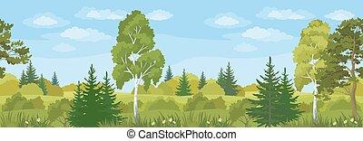 verão, horizontais, paisagem, seamless, floresta