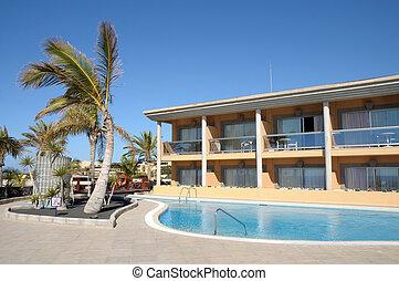 verão, hotel, recurso, luxo, piscina, natação