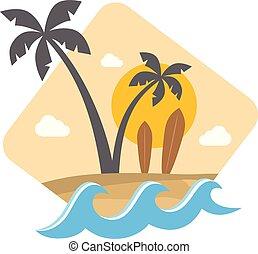 verão, ilha, sinal, tema, etiqueta, praia