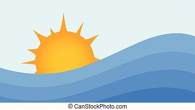 verão, illustration., sol, água oceano, experiência., vetorial, pôr do sol, sea., waves., ou, amanhecer