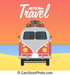 verão, illustration., vacation., campista, vetorial, van.
