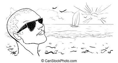 verão, ilustração, mão, experiência., vetorial, drawn.