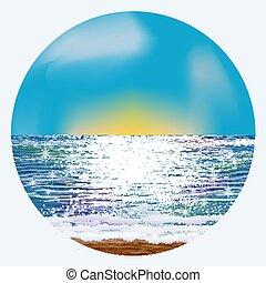 verão, ilustração, vetorial, amanhecer, cartão