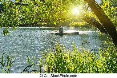 verão, inveterate, lake., pescador, barco pesca