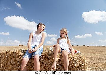verão, irmã, rir, irmão