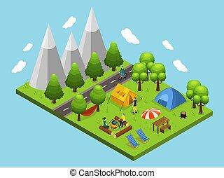 verão, isometric, conceito, acampamento