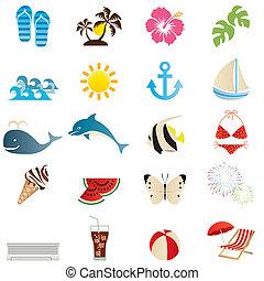 verão, jogo, ícones
