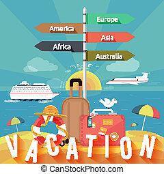 verão, jogo, ícones, férias, planificação, viajando