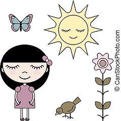 verão, jogo, arte, jardim, clip, menina
