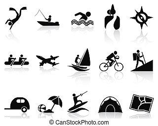 verão, jogo, atividades, ícones