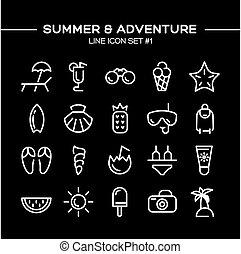 verão, jogo, aventura, ícones