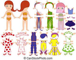 verão, jogo, boneca, estação, papel, roupa