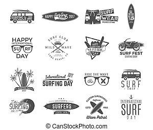 verão, jogo, elementos, desenho, logotipo, design., teia, estilo, symbols., vindima, surfista, emblemas, hipster, praia, surfar, badge., selo, gráficos, waves., print., embarcar, insignias, surfando, surfboard, vetorial, ou