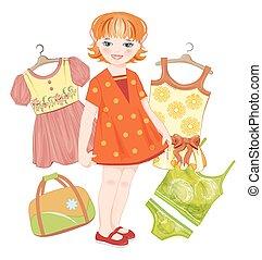verão, jogo, gengibre, saco, menina, roupas