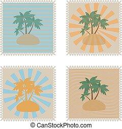 verão, jogo, grunge, texto, dentro, ilustração, tropicais, selos, vetorial, lugar, seu