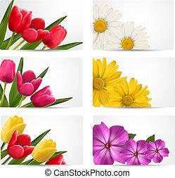 verão, jogo, illustration., primavera, flowers., vetorial, grande, bandeiras