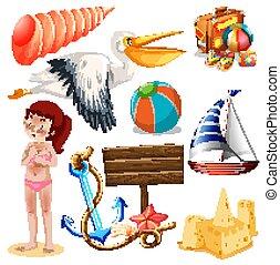 verão, jogo, isolado, tema, objetos, feriado