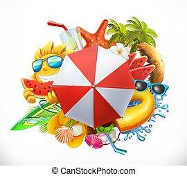 verão, jogo, vetorial, 3d, praia, ícone