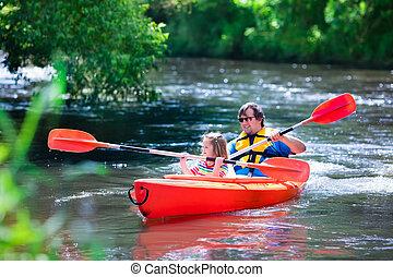 verão, kayaking, pai, criança