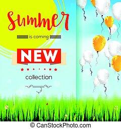 verão, ladybugs., texto, nuvens, ações, azul, voando, céu, modelo, online, balões, shopping, giga, cartaz, margaridas, capim, anúncio, novo, collection., anunciando, elegante, fundo